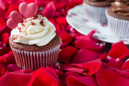 cupcakes: Valentine cupcakes and petals