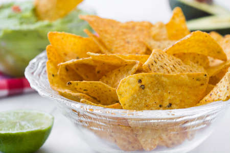 nachos: Guacamole With Nachos Stock Photo