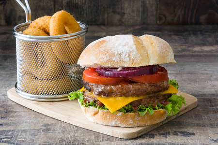 cheddar: With cheddar cheese delicious burger, tomato, lettuce and onion