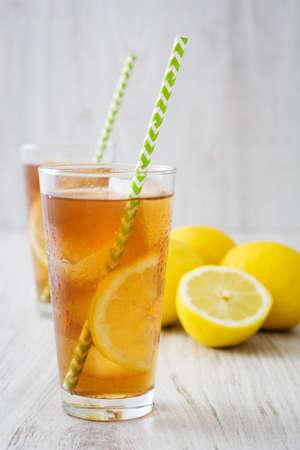 Ice tea with lemon.