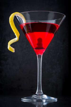 Cosmopolitan cocktail on black background Stock Photo