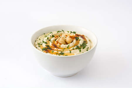 hummus: Hummus in bowl isolated on white background
