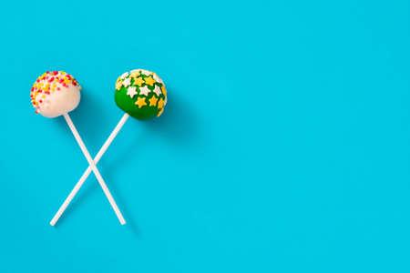 cake pops: Cake pops on blue background