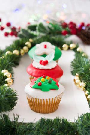 christmas cupcakes: Christmas cupcakes and Christmas decoration
