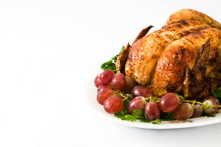 garnished: Garnished roasted turkey with grapes and herbs