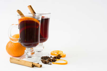 Christmas mulled wine isolated on white background
