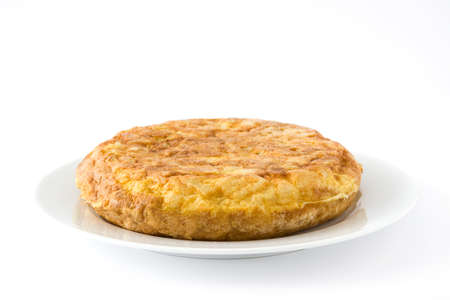 Traditional spanish omelette isolated on white background