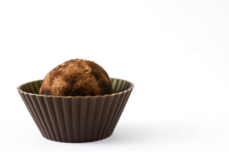 truffe blanche: Homemade chocolate truffle isolated on white background