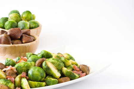 With chestnuts and Brussels sprouts bacon isolated on white background