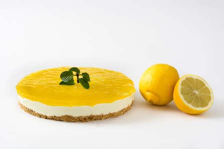 lemon pie: Lemon pie isolated on white background