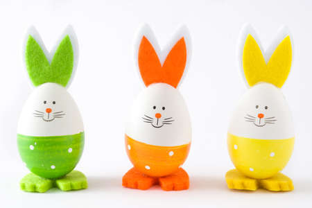 silhouette lapin: Easter eggs with rabbit shape, isolated on white background. Copyspace. Banque d'images