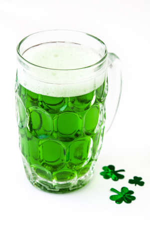 Traditional cold green beer for Saint Patricks Day isolated on white background