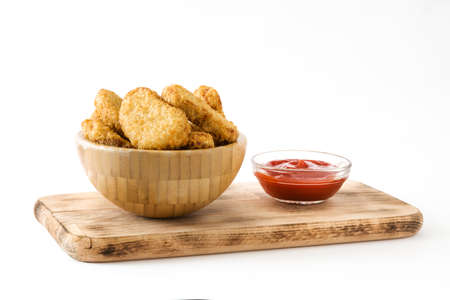 Fried chicken nuggets in bowl isolated on white background Imagens - 73449437