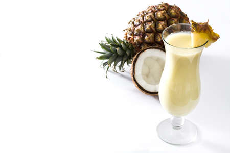Pina colada cocktail isolated on white background 版權商用圖片