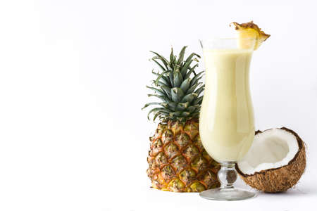 Pineapple colada cocktail isolated on white background