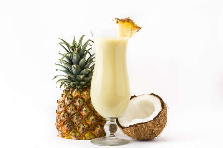 Pina colada cocktail isolated on white background Stock Photo