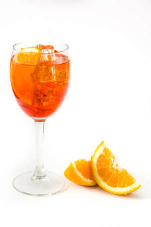 spritz: Aperol spritz cocktail in glass isolated on white background Stock Photo
