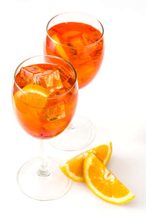 Aperol spritz cocktail in glass isolated on white background Stock Photo