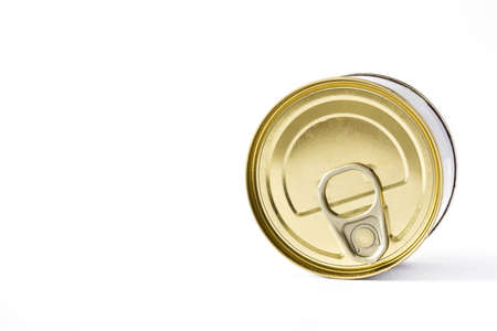 Closed cans of preserves isolated on white background