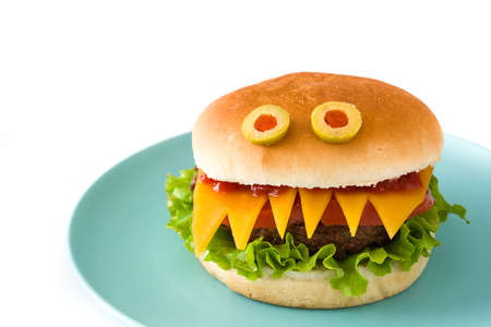 Halloween burger monsters isolated on white background Stock Photo