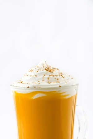 Pumpkin spiced latte isolated on white background