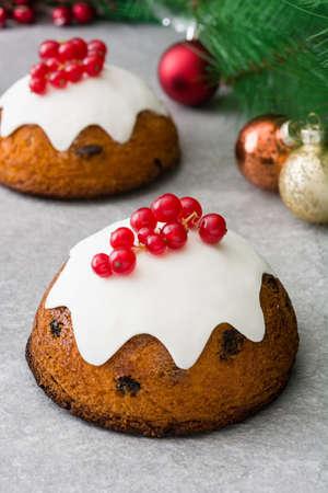 Christmas pudding on gray stone