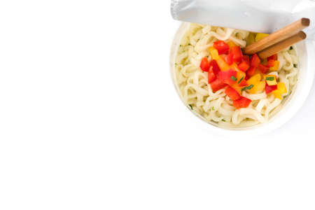 Take away noodles with vegetables isolated on white background. Top view Copyspace Banco de Imagens