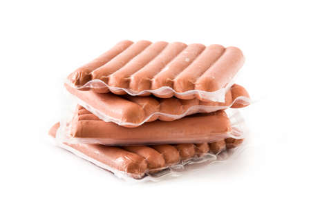Packaged sausages isolated on white background.