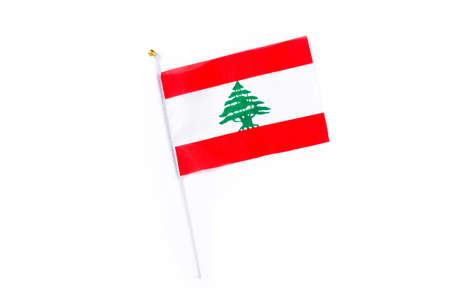 Lebanese flag isolated on white background.