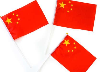 Chinese flag isolated on white background 스톡 콘텐츠