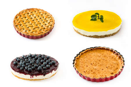Pie and cake collage. Lemon pie, blueberry cheesecake, pumpkin pie and apple pie isolated on white background Stock Photo