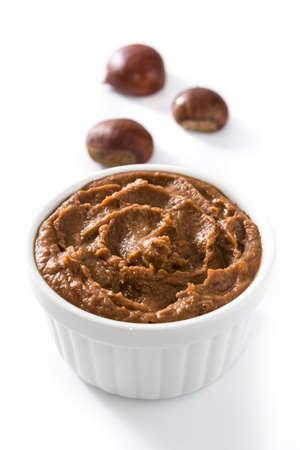 Chestnut cream on bowl isolated on white background