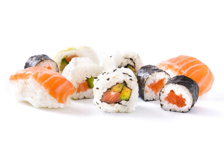 sushi assortment on black tray isolated on white background Banco de Imagens