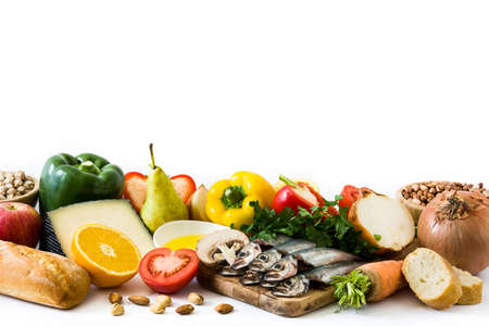 Healthy eating. Mediterranean diet. Fruit, vegetables, grain, nuts olive oil and fish isolated on white background Archivio Fotografico