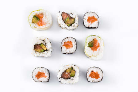 sushi pattern on white background. Top view