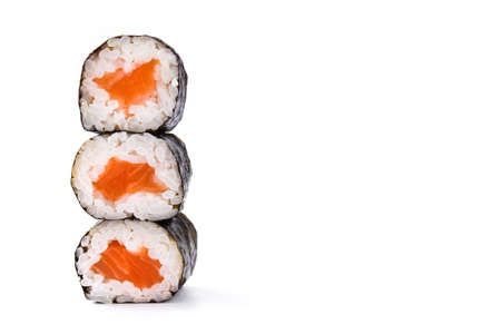 sushi rolls on white background. Copyspace