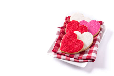 Heart-shaped cookies for valentines day isolated on white background. Copyspace
