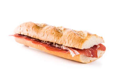 Spanish ham sandwich isolated on white background