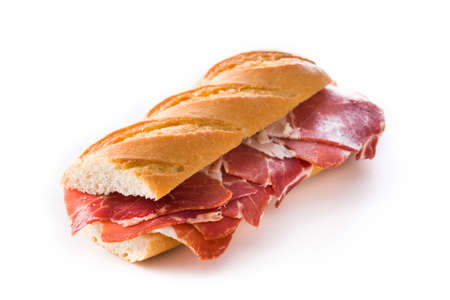 Spanish ham sandwich isolated on white background