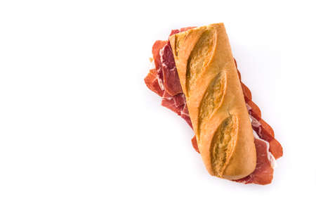 Spanish ham sandwich isolated on white background. Top view. Copyspace Stock fotó