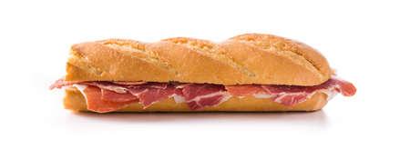 Spanish ham sandwich isolated on white background.