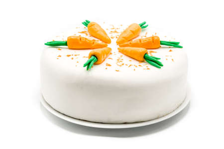 Sweet carrot cake isolated on white background Stock Photo