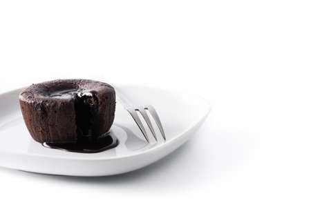 Coulant chocolate cake isolated on white background. Copyspace