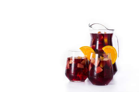 Red wine sangria isolated on white background. Copyspace Banco de Imagens