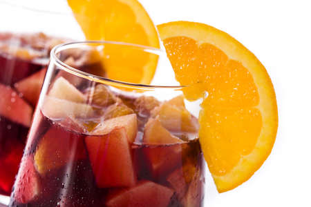 Red wine sangria isolated on white background. Close up Banque d'images