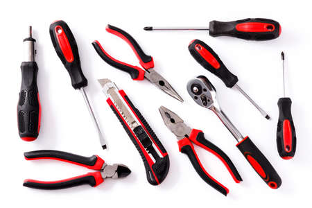 Building tools repair set isolated on white background. Top view 스톡 콘텐츠