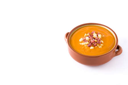 Typical Spanish salmorejo cream with ham and egg isolated on white background. Copyspace 스톡 콘텐츠