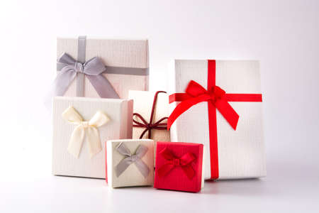 Variety gift boxes isolated on white background
