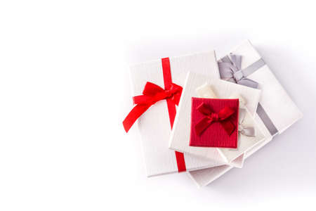 Variety gift boxes isolated on white background. Top view. Copyspace