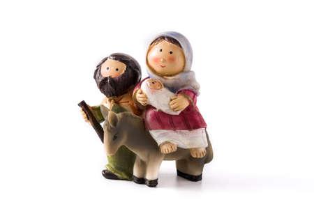 Figures representing nativity scene isolated on white background.Jesus, Maria and Jose Imagens